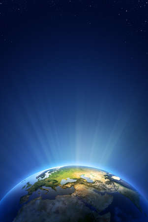 blue earth: Earth Radiant Light Series  Stock Photo