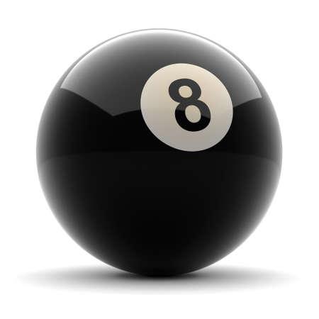 bola ocho: Estanque Negro Bola número ocho emitida el fondo blanco sólido Foto de archivo