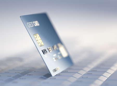 tarjeta visa: Tarjeta de crédito en el teclado de la computadora - 3d rindió con enfoque diferencial de alta