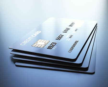 debit card: Credit Cards - 3d rendered with medium DOF Stock Photo