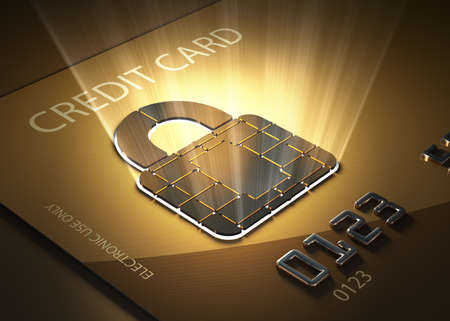 debit cards: Credit card and lock shaped contact point - Concept of secure transactions