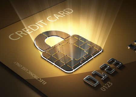 Tarjeta de crédito y candado en forma de punto de contacto - Concepto de transacciones seguras