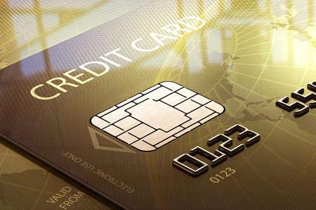 ウィンドウの前面に光沢のあるクレジット カードのクローズ アップ 写真素材