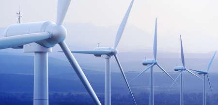 Wind turbine boerderij tegen verre bergen 3d grafische Stockfoto