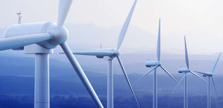 Wind turbine farm against distant mountains  3d graphic