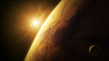 Planet Mars close-up with sunrise in space