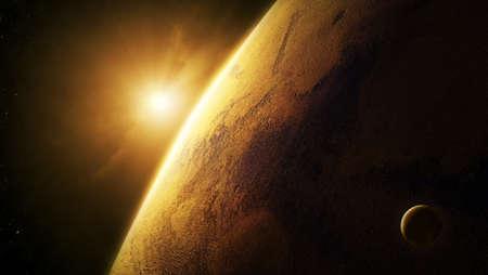 Planeet Mars close-up met zonsopgang in de ruimte Stockfoto