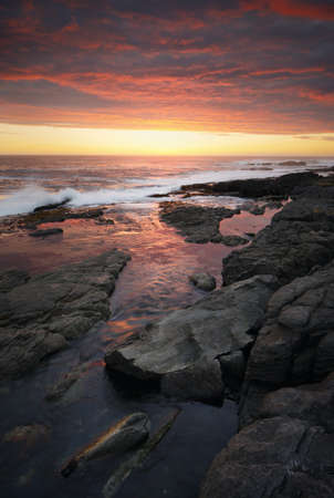 Sunset over rocky coastline  Hermanus - Cape Province - South Africa