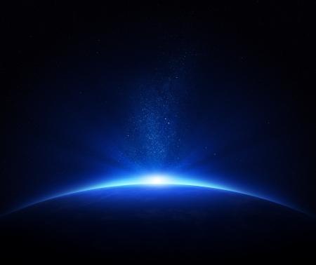 Earth - zonsopgang in diepe blauwe ruimte