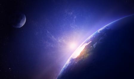sunlight earth: Earth sunrise in foggy space over North America