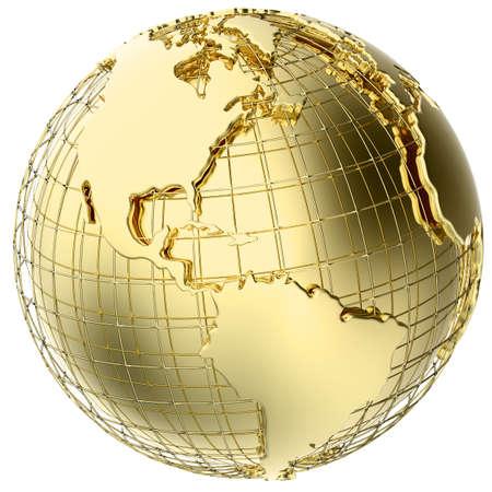 Aarde in massief goud op wit wordt geïsoleerd