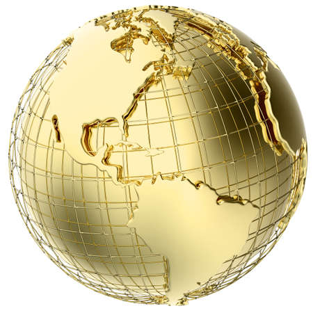 Earth in solid gold isolated on white    Banque d'images
