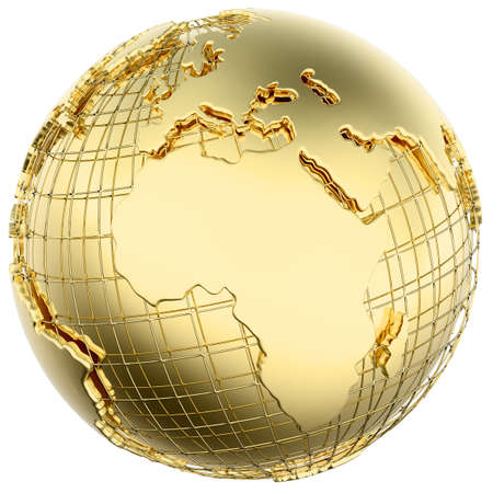 Earth in solid gold  Africa  Europe  isolated