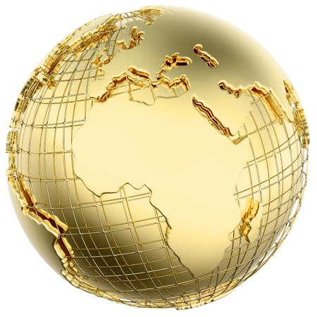 Aarde in massief goud Afrika Europa geïsoleerde