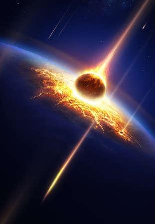 Aarde in een meteorenregen