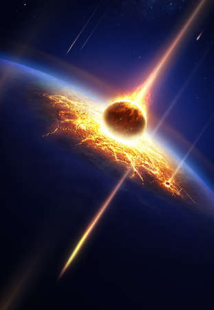 Earth in a  meteor shower   Banque d'images