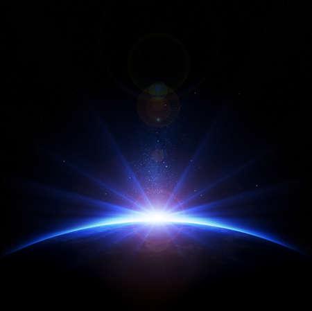 地球 - 光線とレンズのフレアと日の出