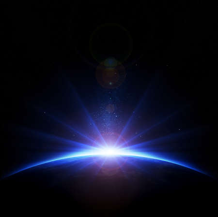 Terre - lever du soleil avec des rayons et lens flare Banque d'images - 18828763