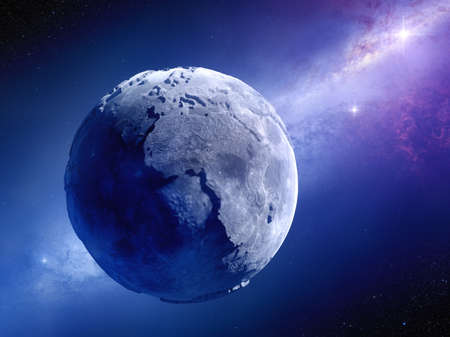 millions: Lifeless Earth millions of years after global disaster    Stock Photo