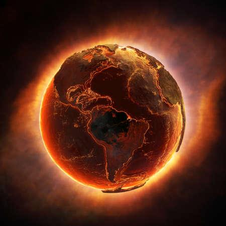 Aarde branden na een wereldwijde ramp Stockfoto