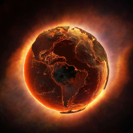 end of the world: Earth burning after a global disaster