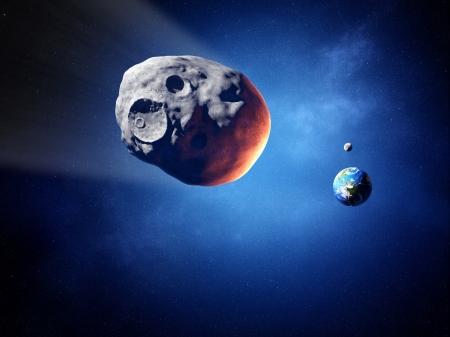 地球との衝突コースの小惑星 写真素材