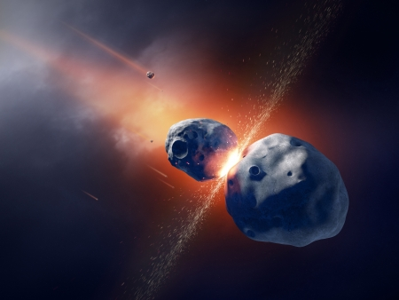 Asteroids collide and explode  in deep space