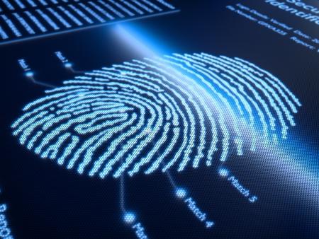 指紋スキャン pixellated 画面 - わずかな被写し界深度のレンダリングの 3 d 技術
