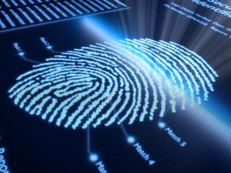 Het scannen van vingerafdrukken technologie pixellated scherm - 3d teruggegeven met kleine DOF Stockfoto