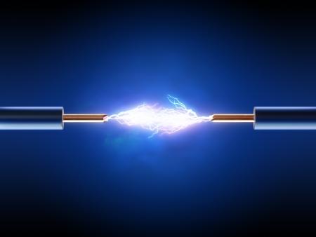 2 つ絶縁銅線の間電気火花 (3 d レンダリング)