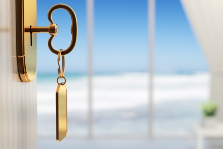 Room with ocean view - The start of a great vacation (3d render with shallow DOF) Stockfoto
