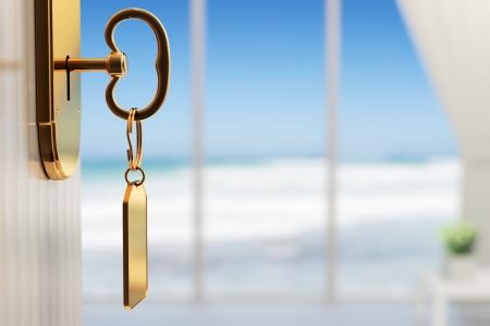 Kamer met uitzicht op de oceaan - Het begin van een geweldige vakantie (3d render met ondiepe DOF) Stockfoto