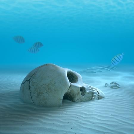 Schedel op zand oceaan bodem met kleine vis schoonmaken sommige botten (3d render met lichte differentiële focus)