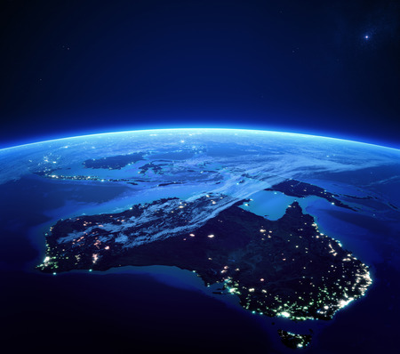 Australia with city lights from space at night - Earth daytime series  스톡 콘텐츠