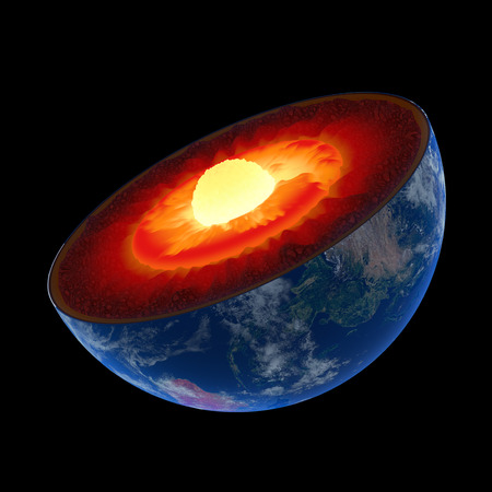 Earth core structure illustrated with geological layers according to scale - isolated on black  스톡 콘텐츠