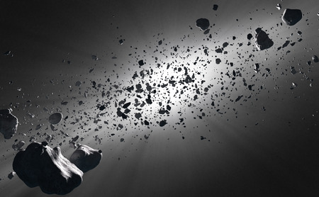 深宇宙の太陽に対する見られる小惑星帯内 写真素材