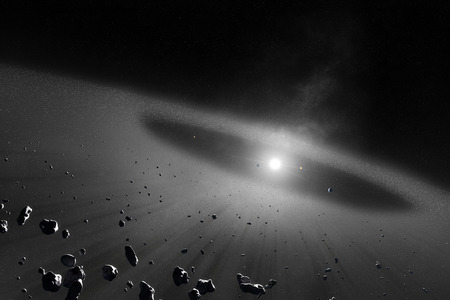 Asteroid belt  with inner four solar planets  스톡 콘텐츠