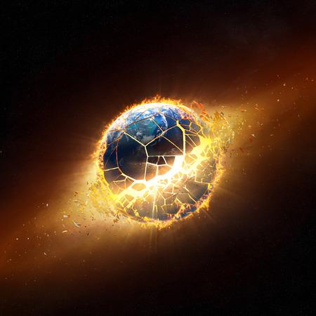 燃え上がる炎の中で爆発する惑星の地球