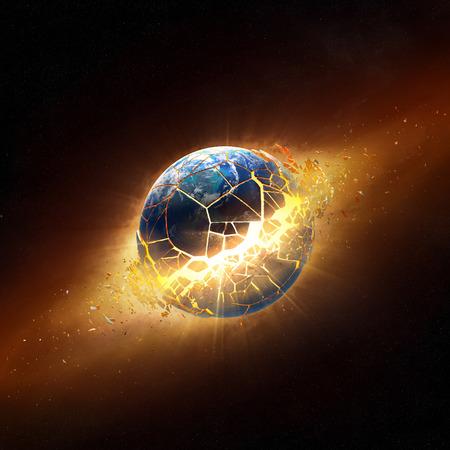 Planeet aarde exploderen in de ruimte Stockfoto