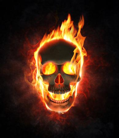Evil skull burning in flames - 3d render