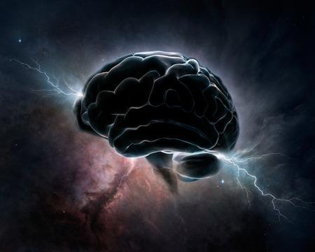 脳は宇宙・概念のデジタル アートと相互接続 写真素材