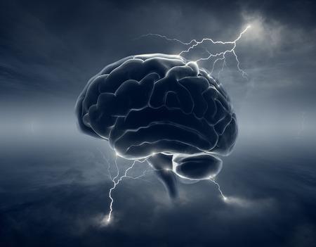 폭풍우 cloudscape 및 번개 뇌 - 브레인 스토밍의 개념 스톡 콘텐츠
