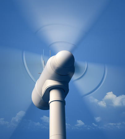 Wind Turbine blades spinning - closeup view with blue hazy sky - 3D artwork