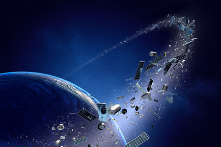 Space junk orbiting around earth - Conceptual of pollution around our planet (Texture map for 3d furnished by NASA -  http://visibleearth.nasa.gov/) Stockfoto