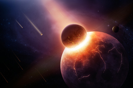 Earth destroyed in collision - 3D artwork illustration of planetary collision Stock Photo