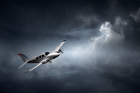 Aeroplane flying in storm with lightning (Concept of risk - digital artwork)