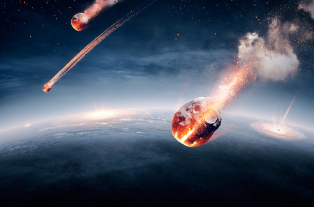 Meteorites on their way to earth and breaking through atmosphere (Elements of this image furnished by NASA- earthmap for 3Drender) Banque d'images