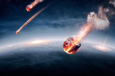 Meteorieten op hun weg naar de aarde en het doorbreken van de sfeer (Elementen van deze afbeelding geleverd door NASA- earthmap voor 3Drender)