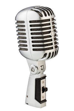 Vintage metal microphone (silver) isolated on white background Reklamní fotografie