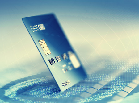 Global electronic internet credit card payment and commerce (3D render)